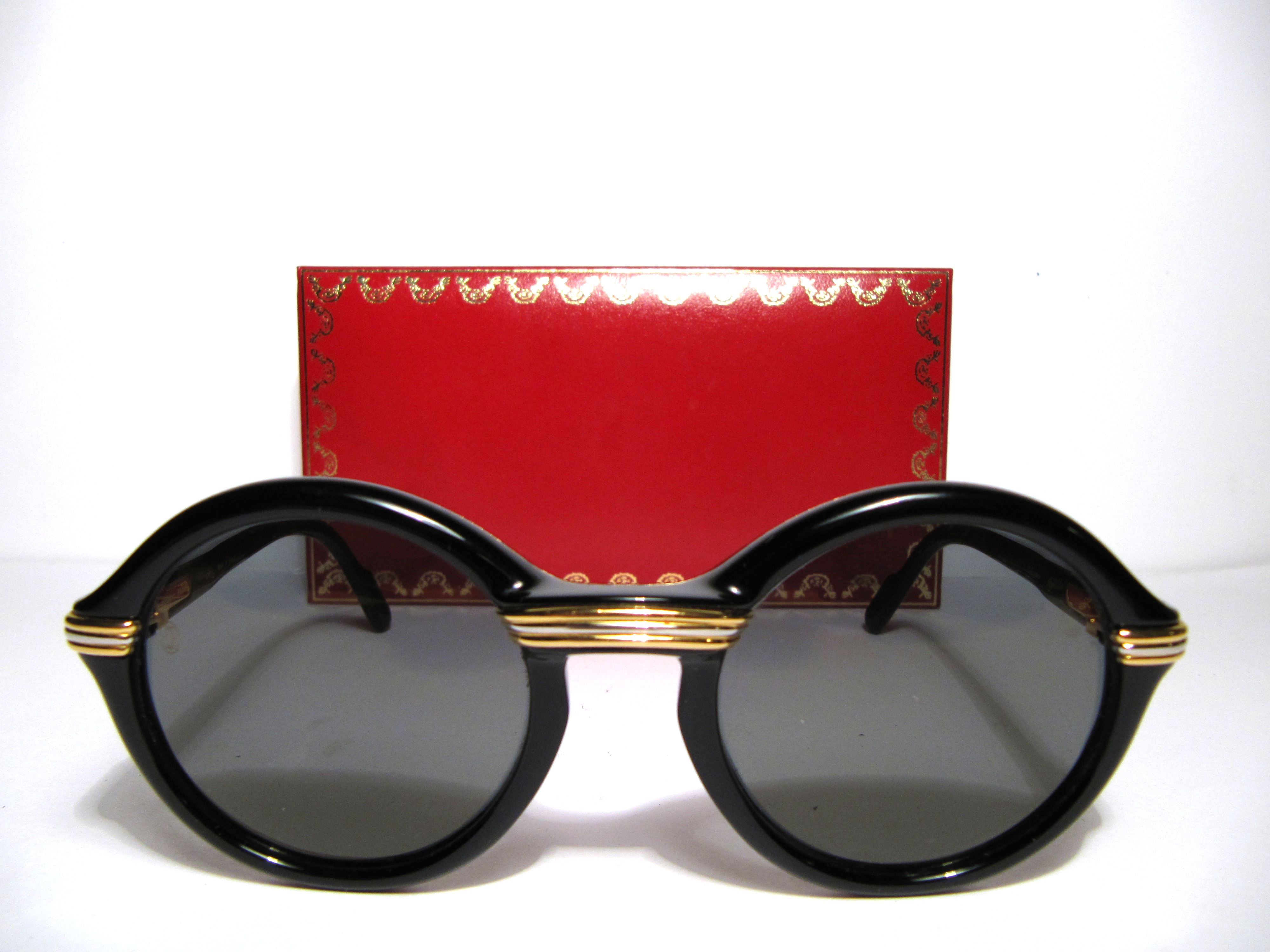 Cartier Gold Frame Sunglasses : Black round Cartier Cabriolet