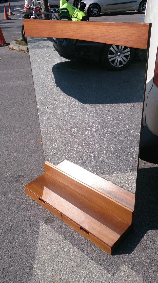 1960s wood mirror board sweden