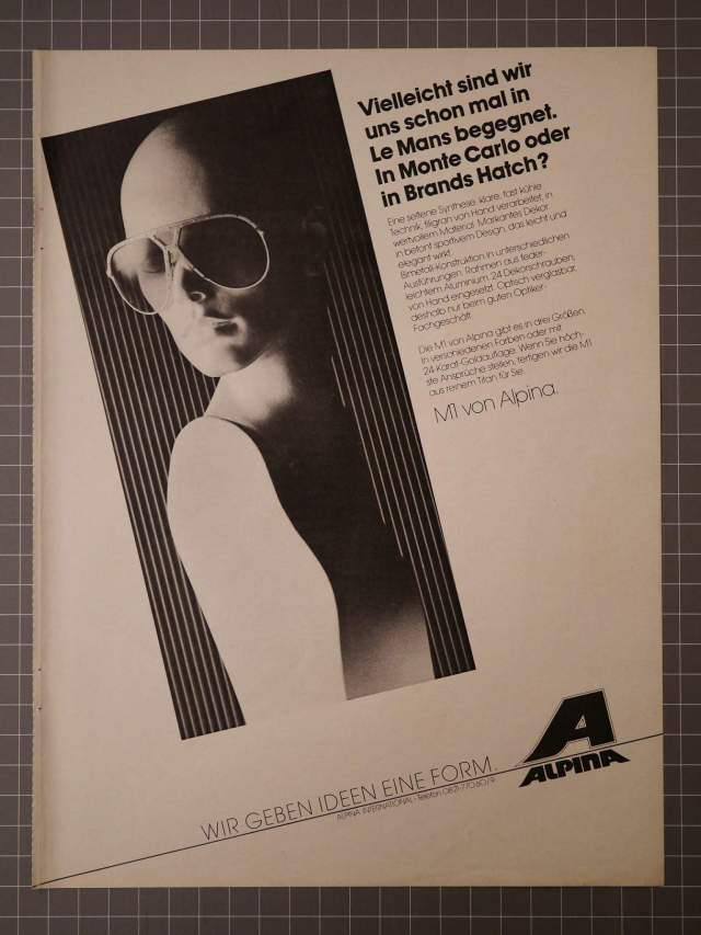 Alpina M1 1980s vintage sunglasses advertising West Germany