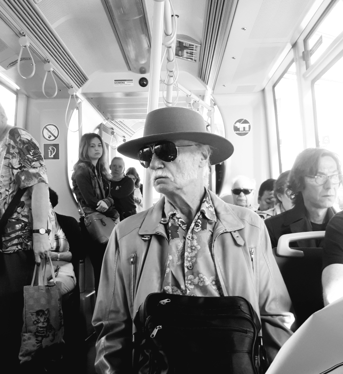Vienna Tramway cowboy wearing Porsche Design by Carrera 5621 1980s vintage sunglasses