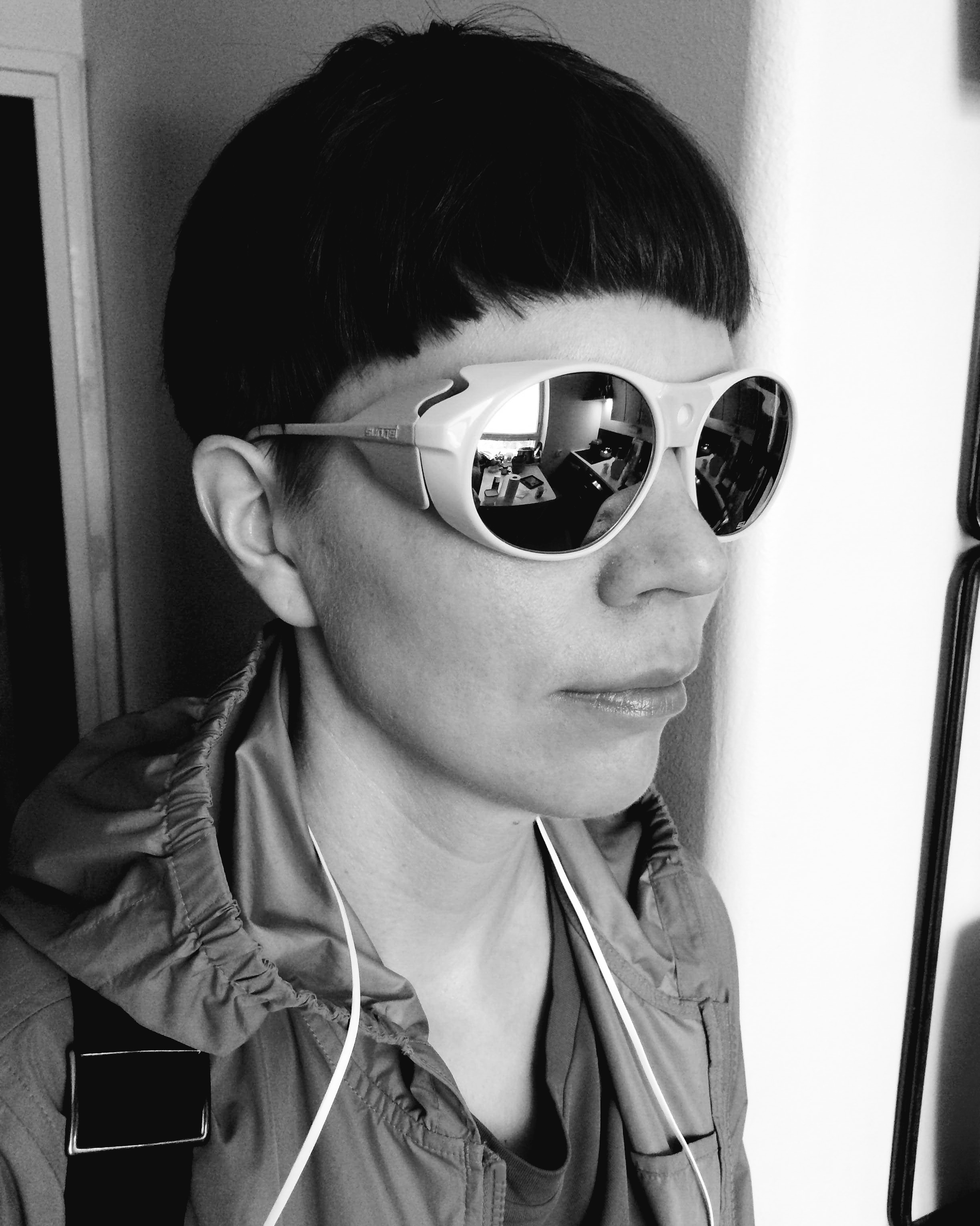 Vera wearing Carrera Sunjet vintage sunglasses made in Austria