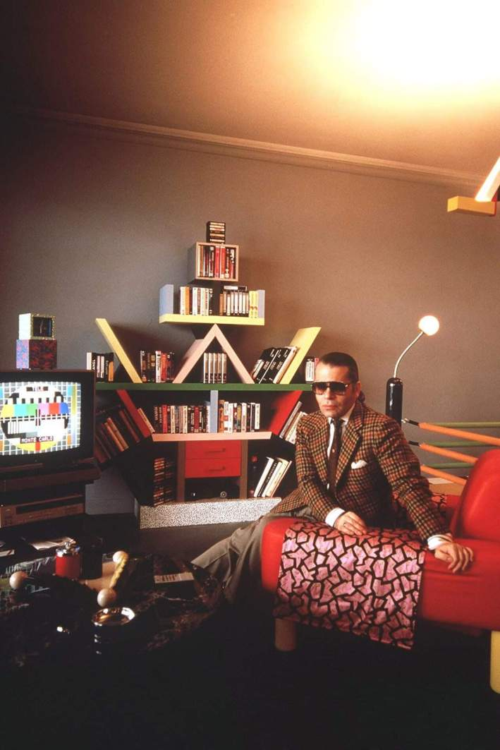 Karl Lagerfeld watching television 1980s vintage sunglasses